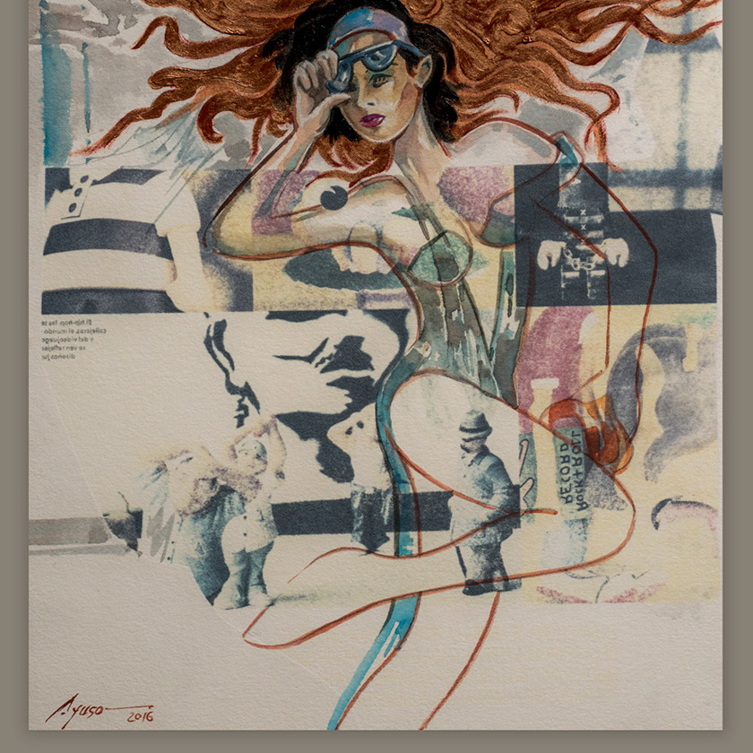 Pintando mujer con acuarela y tinta