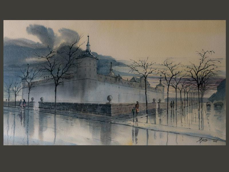 Pintando acuarela Monasterio - Atardecer lluvioso en la Lonja